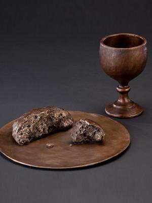 Life-size bronze sculptures, bronze communion elements