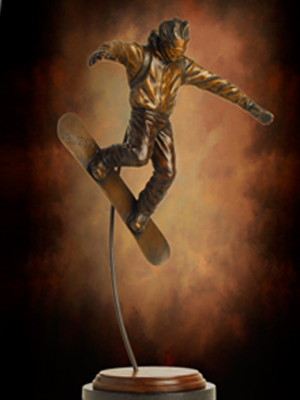 Beau ... Bronze Tabletop Snowboarder Sculpture, Snowboarding Award Trophy,  Custom Designed Trophies By Tom White,
